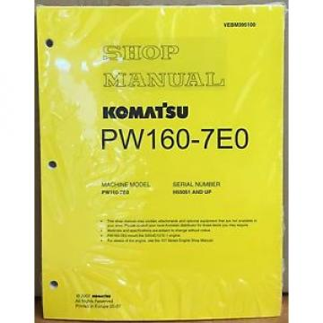 Komatsu Moldova, Republic of  Service PW160-7E0 Excavator Shop Manual NEW REPAIR