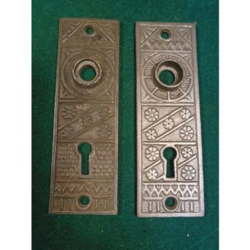"BEAUTIFUL Somali  PAIR of EASTLAKE F.C. LINDE CAST STEEL BACKPLATES 5"" (2993-L)"