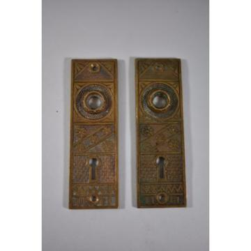 SET Emirates  OF ANTIQUE BRASS F.C. LINDE & CO DOOR BACK PLATES CRESSKILL NJ