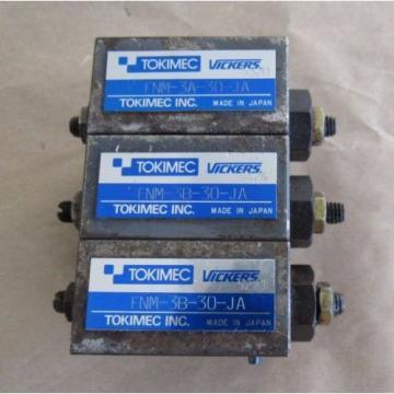 3 Denmark PCS TOKIMEC VICKERS HYDRAULIC VALVE: 2 PCS FNM-3B-30-JA, 1 PCS FNM-3A-30-JA