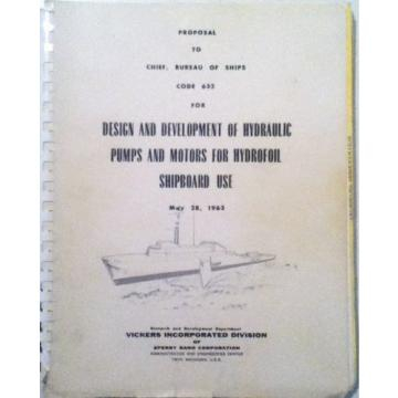 Sperry Brazil  Rand, Vickers Div 1963  Proposal Hydraulic Pumps/Motors