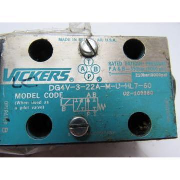 Vickers Swaziland DG4V-3-22A-M-U-HL7-60 Hydraulic Solenoid Valve 24VDC Coil 3000PSI