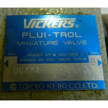 Vickers UnitedStatesofAmerica Tokimec Flui-Trol Valve, DG4M4-32A-20-JA, Used, WARRANTY