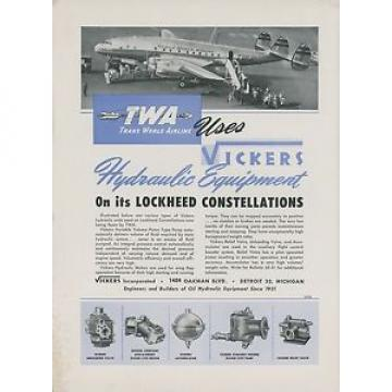 1946 Malta  Vickers Aviation Hydraulic Ad TWA Lockheed Constellation Trans World Airway