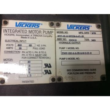 Vickers Ecuador  Integrated Motor Pump MP15-B1-R-VPF10N-A-F1-20 - 20 HP Hydraulic Pump
