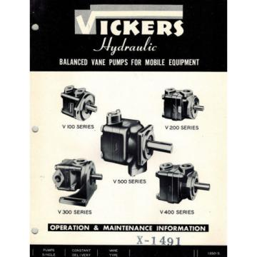 VICKERS Burma  V100 V200 V300 V400 V500  HYDRAULIC PUMPS OPERATION MAINTENANCE  MANUAL