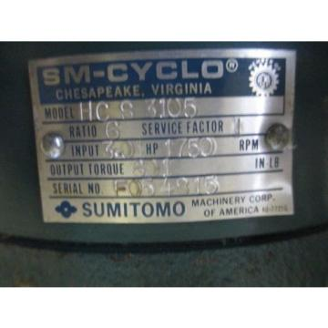 SM-CYCLO SUMITOMO GEAR DRIVE RATIO 6 1750 RPM HC S 3105