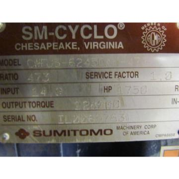 Sumitomo Machinery SM-Cyclo CWFJS-6245DAY-473 473:1 Inline Gear Reducer 149 HP