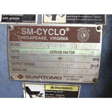 Sumitomo SM-Cyclo CHHS-6205DBY-SB Gear Drive/Speed Reducer 5HP 649:1 3480RPM