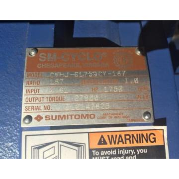 SM-CYCLO CVHJ Sumitomo Cyclo 6000 Speed Gear Reducer CVHJ-6175DCY-187 Origin