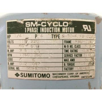 SUMITOMO S-TC-F/FB-02A1 Induction Motor w/ Gear Reducer RNYMS02-1330-SG-B-150