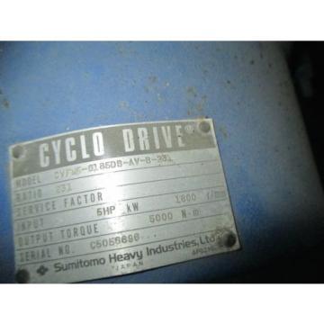 SUMITOMO SM CYCLO GEAR MOTOR 5HP CVF6185D - 231-1