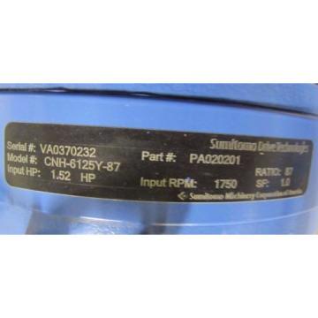 SUMITOMO PA020201 CNH-6125Y-87 87:1 RATIO WORM GEAR SPEED REDUCER GEARBOX Origin