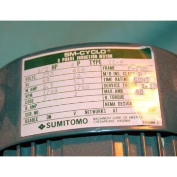 Sumitomo SM-Cyclo TC-F CNHMS-05-4105DAY-210 Gear 1/2hp 5hp 3p Electric Motor