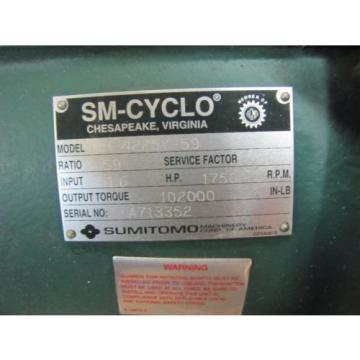 SUMITOMO CHH-4225Y-59 SM-CYCLO 59:1 RATIO SPEED REDUCER GEARBOX REBUILT