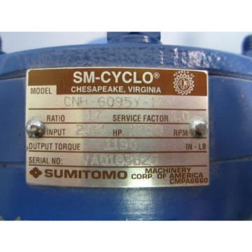 Sumitomo SM-Cyclo Reducer CNH-6095Y-17 Ratio 17 to 1  204 Input HP NWOB