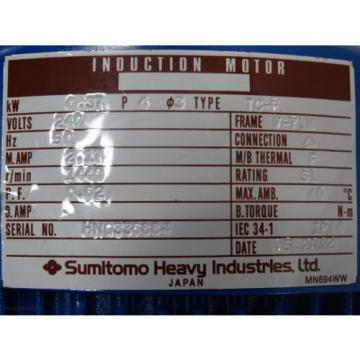 Sumitomo Induction Motor/Reducer TC-F 37kW 240V 50HZ 217A 1440RPM Ratio:8