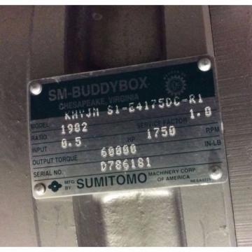 SUMITOMO KHVJM S1-E4175DC-R1 SM-BEVEL BUDDYBOX REDUCER / GEARMOTOR 1902:1 RATIO