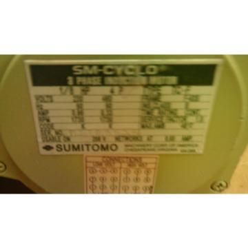 SUMITOMO CNFMS-01-4085YA-6 INDUCTION MOTOR 1/8 HP 3 PHASE 230V 292 RPM