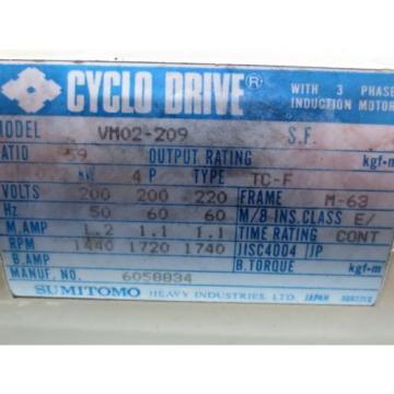 SUMITOMO CYCLO DRIVE MOTOR VM02-209