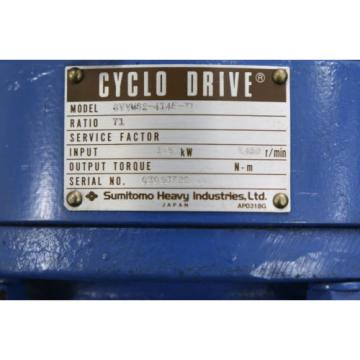 SUMITOMO origin Cyclo Drive CVVMS2-4145-71 Induction Motor TC-F 15KW Ratio 71:1