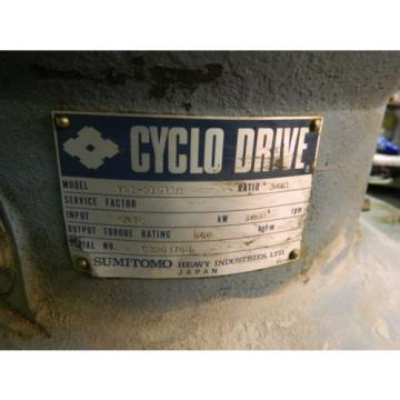 Sumitomo Cyclo Drive, VM1-21911B, 3481:1 Ratio, 1 HP, 1750 RPM, Used, Warranty