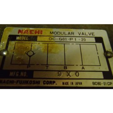 Nachi Sudan Modular Valve OC-G01-P1-20 _ OCG01P120 _ 9X0