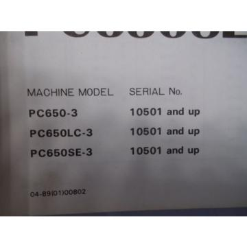 Komatsu Barbuda  PC650-3 PC650LC-3 PC650SE-3 excavator service shop manual