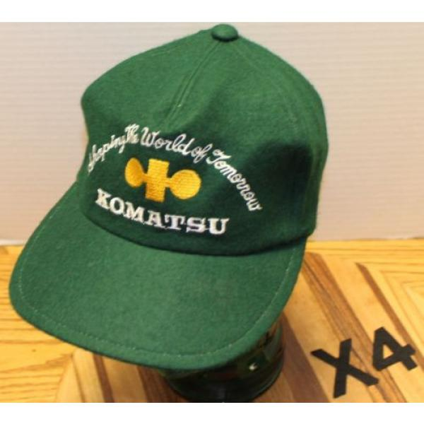 "VINTAGE Guinea  KOMATSU ""SHAPING THE WORLD OF TOMORROW"" GREEN WOOL HAT ZIP STRAP ADJUST #1 image"
