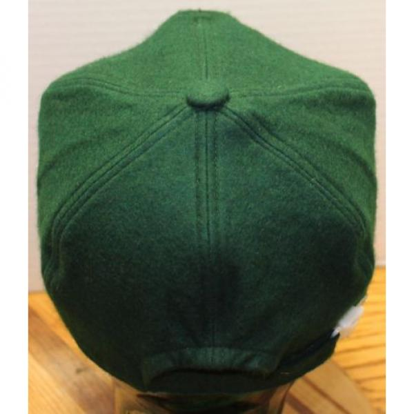 "VINTAGE Guinea  KOMATSU ""SHAPING THE WORLD OF TOMORROW"" GREEN WOOL HAT ZIP STRAP ADJUST #3 image"