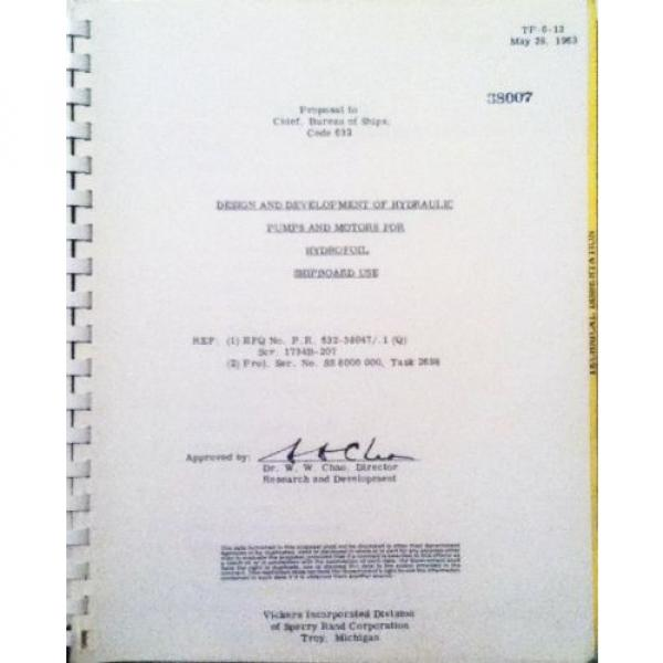 Sperry Brazil Rand, Vickers Div 1963  Proposal Hydraulic Pumps/Motors #2 image