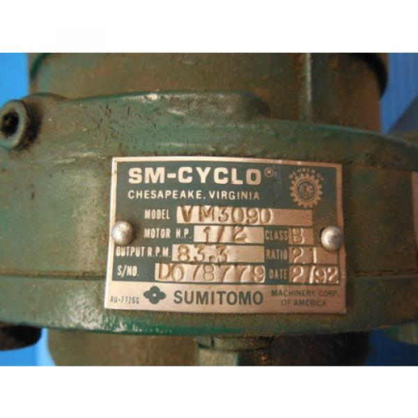 SM CYCLO SUMITOMO TC F 3 PHASE INDUCTION MOTOR 3 HP CNHM3 4105YA 8 GEAR REDUCER #3 image