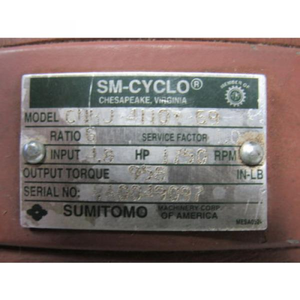 Sumitomo SM-Cyclo CNHJ-4110Y-69 Inline Gear Reducer 6:1 Ratio 48 Hp #11 image