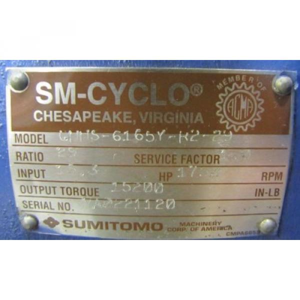 SUMITOMO CHHS-6165Y-R2-29 SM-CYCLO 29:1 RATIO SPEED REDUCER GEARBOX REBUILT #2 image