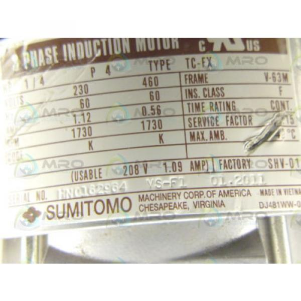 SUMITOMO TC-FX RNYMS02-1220YA-40 1/4 HP 1730 RPM INDUCTION MOTOR Origin NO BOX #2 image