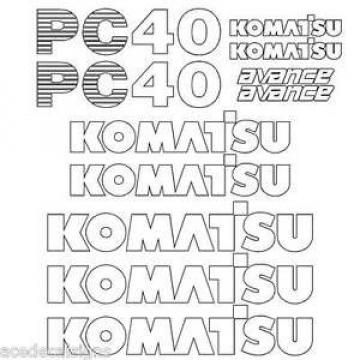 Komatsu Cuinea  PC40-7  Decals Stickers, repro Kit for Mini Excavator