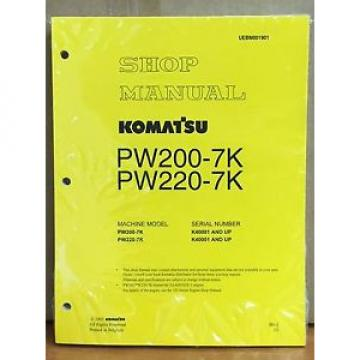 Komatsu Niger  Service PW200-7K PW220-7K Excavator Shop Manual NEW REPAIR BOOK