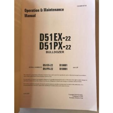 Komatsu France  D51EX-22 D51PX-22 Dozer Operation & Maintenance Manual