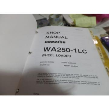 KOMATSU Suriname  WA250-1LC WHEEL LOADER SHOP MANUAL S/N A65001 & UP