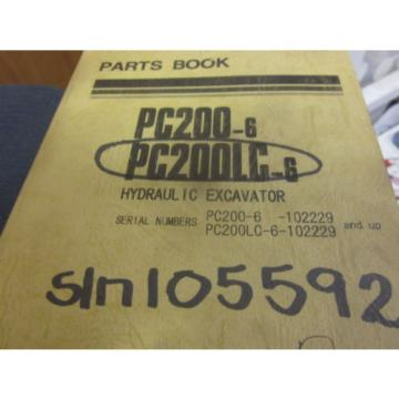 Komatsu Netheriands  PC200-6 PC200LC-6 Hydraulic Excavator Parts Book Manual s/n 102229 Up