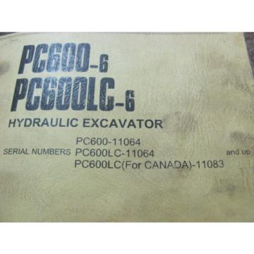KOMATSU Netheriands  PC600-6, PC600LC-6 11064 11083 HYDRAULIC EXCAVATOR PARTS BOOK PEPBO50207