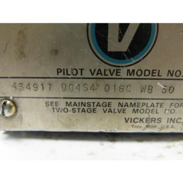 Vickers Samoa Western  434917 DG4S4 016C WB 50 Hydraulic Directional Control Valve