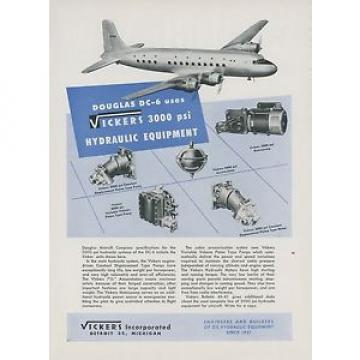 1946 Cuba Vickers Aviation Hydraulic Ad Douglas DC-6 Aircraft Airliner Vintage