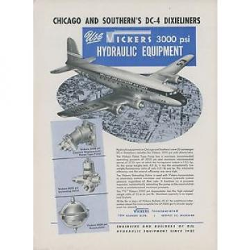 1946 Andorra  Vickers Aviation Hydraulic Ad Chicago amp; Southern Douglas DC-4 Dixieliner