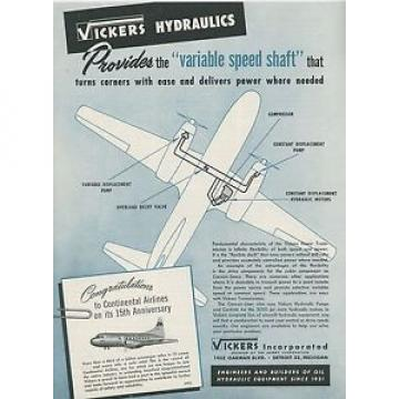1949 Swaziland  Vickers Aircraft Hydraulics Ad Continental Airlines 15th Anniversary