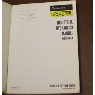VICKERS Ecuador  INDUSTRIAL HYDRAULICS 935100-A MANUAL 1972 ENGINEERING BOOK