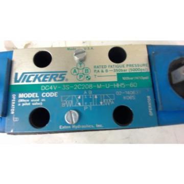 VICKERS, Oman DG4V-3S-2C208-M-U-HH5-60, HYDRAULIC VALVE, 350 BAR, 5000 PSI, 24 VDC