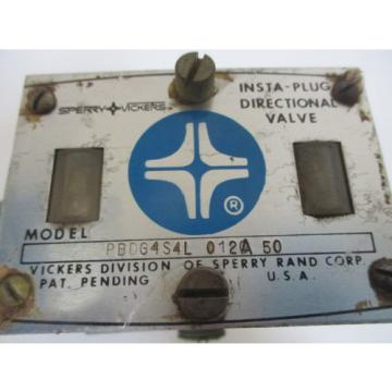 VICKERS Russia PBDG4S4L 012A 50 INSTA-PLUG DIRECTIONAL VALVE USED