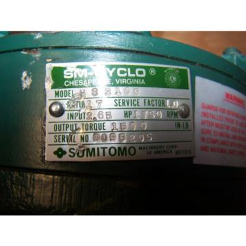 Origin SUMITOMO 17:1 SM-CYCLO GEAR SPEED REDUCER 265 HP MODEL HS3105