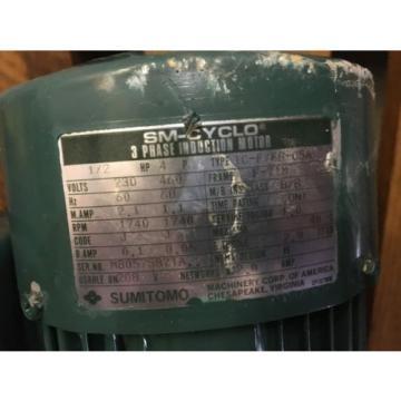 SUMITOMO SM CYCLO GEAR MOTOR, RATIO 289, WITH MOTOR, 1/2 HP, 1740 RPM , USED